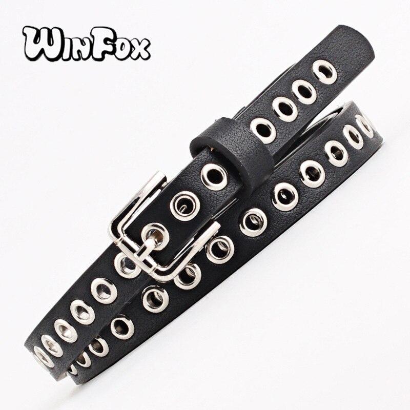 Winfox 1.4cm Wide Black White Grommet Narrow PU Leather Women Belt Eyelet Square Alloy Pin Buckle Female Waistband Jeans Belts