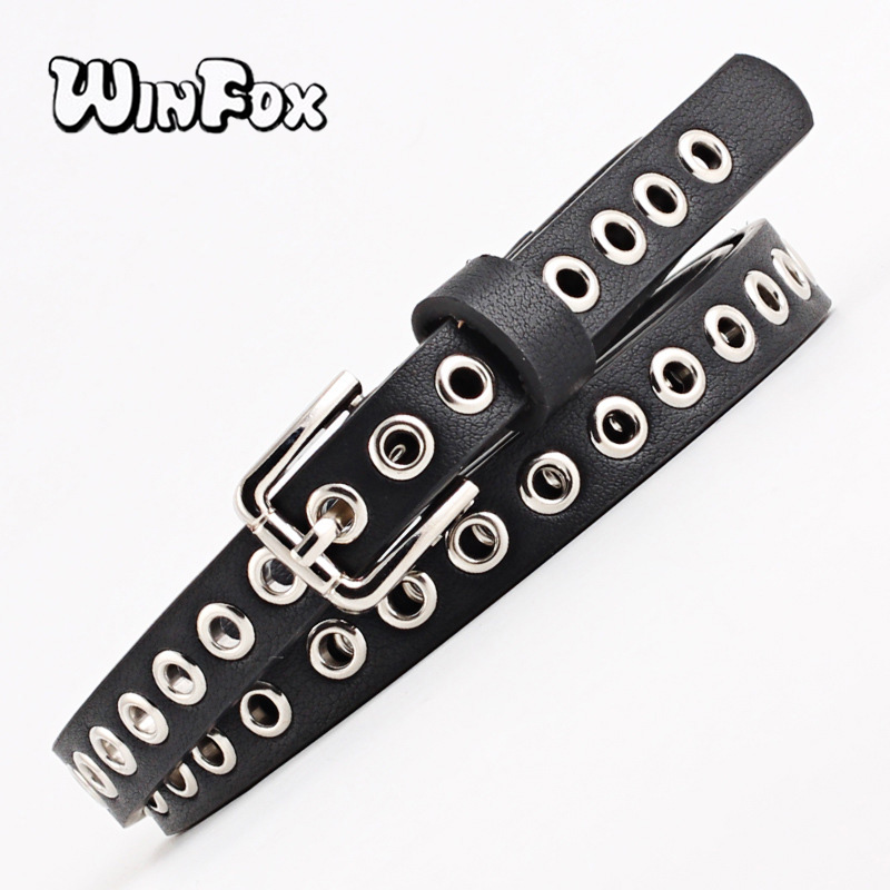 Winfox 1.4cm Wide Black White Grommet Narrow PU Leather Women   Belt   Eyelet Square Alloy Pin Buckle Female Waistband Jeans   Belts