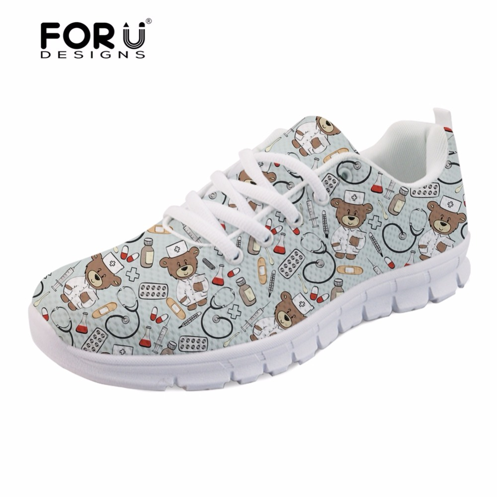 FORUDESIGNS 2018 HOT Pediatrics Nurse Prints Comfortable Lace-up Flats Shoes for Women Cute Nursing Bear Sneakers Air Mesh Shoes forudesigns 3d flowers pattern women casual sneakers comfortable mesh flats shoes for female girls lace up shoes zapatos mujer