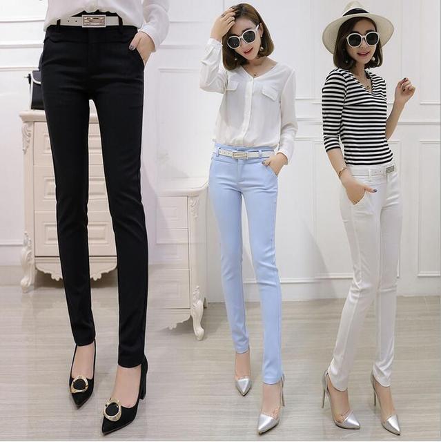 2017 Korea Fashion Style Wanita Kurus Pensil Celana Permen Warna Ankle Length Legging Kantor Ol