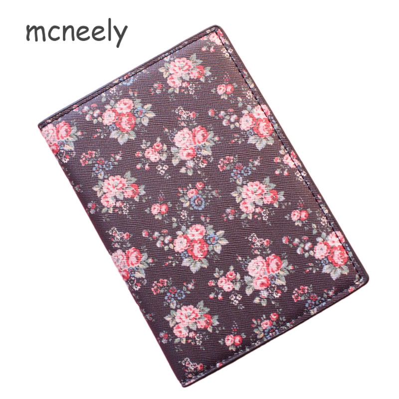 Mcneely Black Flowers Passport Cover PU Leather National style Floral Women Credit Card Holder Girls Passport Holder No Zipper