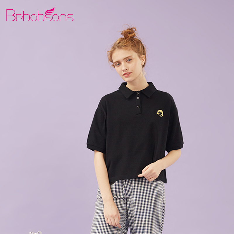 Bebobson Women POLO Shirt Cotton Cute Girl Embroidery Short Sleeve Ladies Black Polo Shirts Tops Loose Preppy Style Рубашка