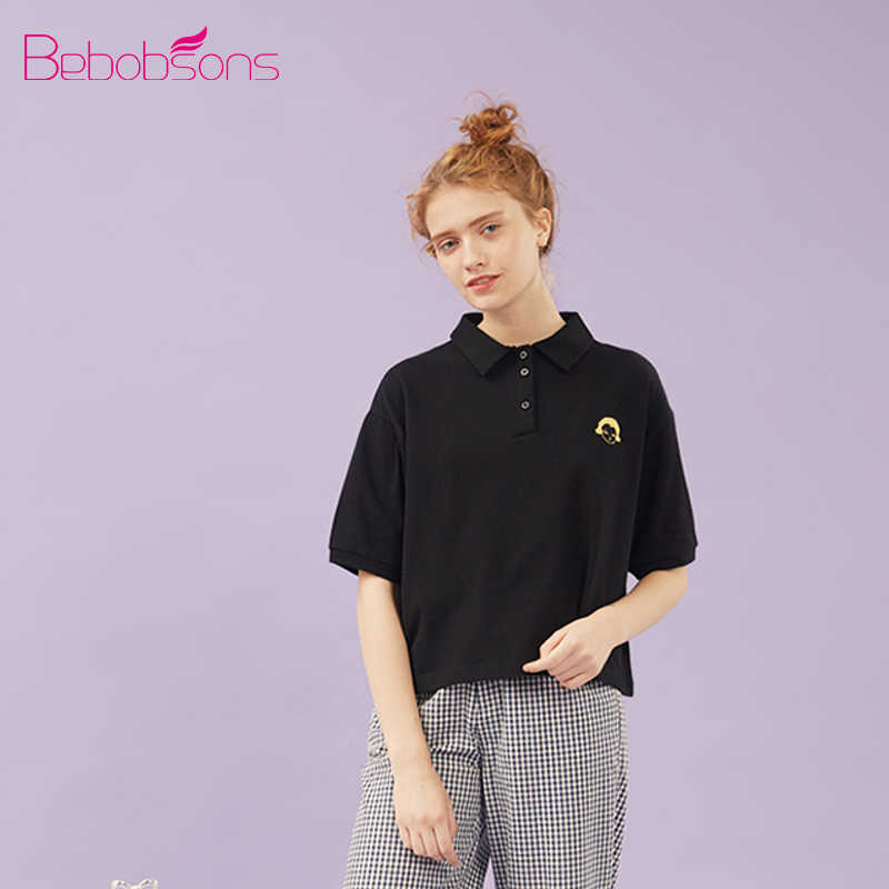 Bebobson Women POLO Shirt Cotton Cute Girl Embroidery Short Sleeve Ladies Black Polo Shirts Tops Loose Preppy Style