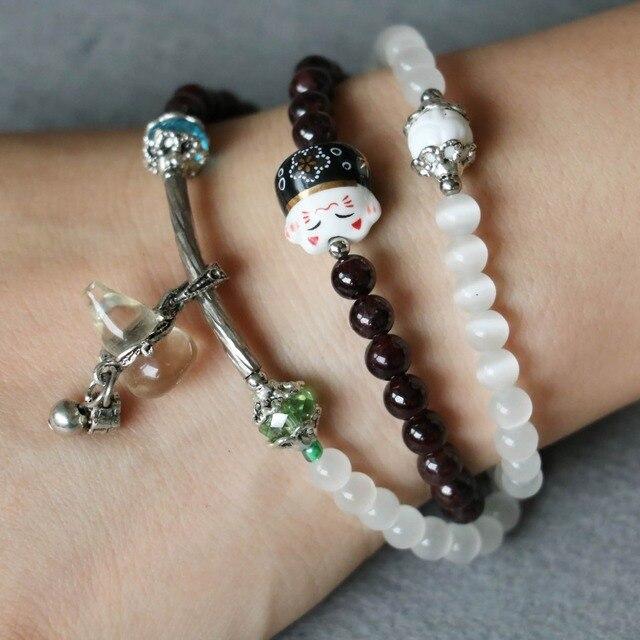 6mm Garnet Opal Bracelet White Opal Gourd Pendant White Crystal Female Jewelry Bracelet Multilayer Chain Necklace Natural Stone
