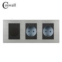 Coswall 16A EU Standard Wall Double Socket Dimmer Regulator Light Switch Stainless Steel Panel 236 86mm