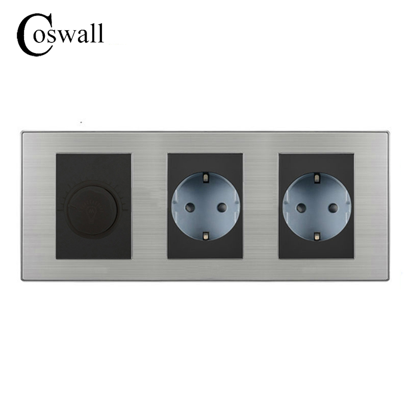 Coswall 16A EU Standard Wall Double Socket + Dimmer Regulator Light Switch Stainless Steel Panel 236*86mm боди idexe