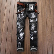 2016 Mens Skinny Letter Printing Jeans Blue Distressed Ripped Jeans Fashion Designer Denim Trousers P4076