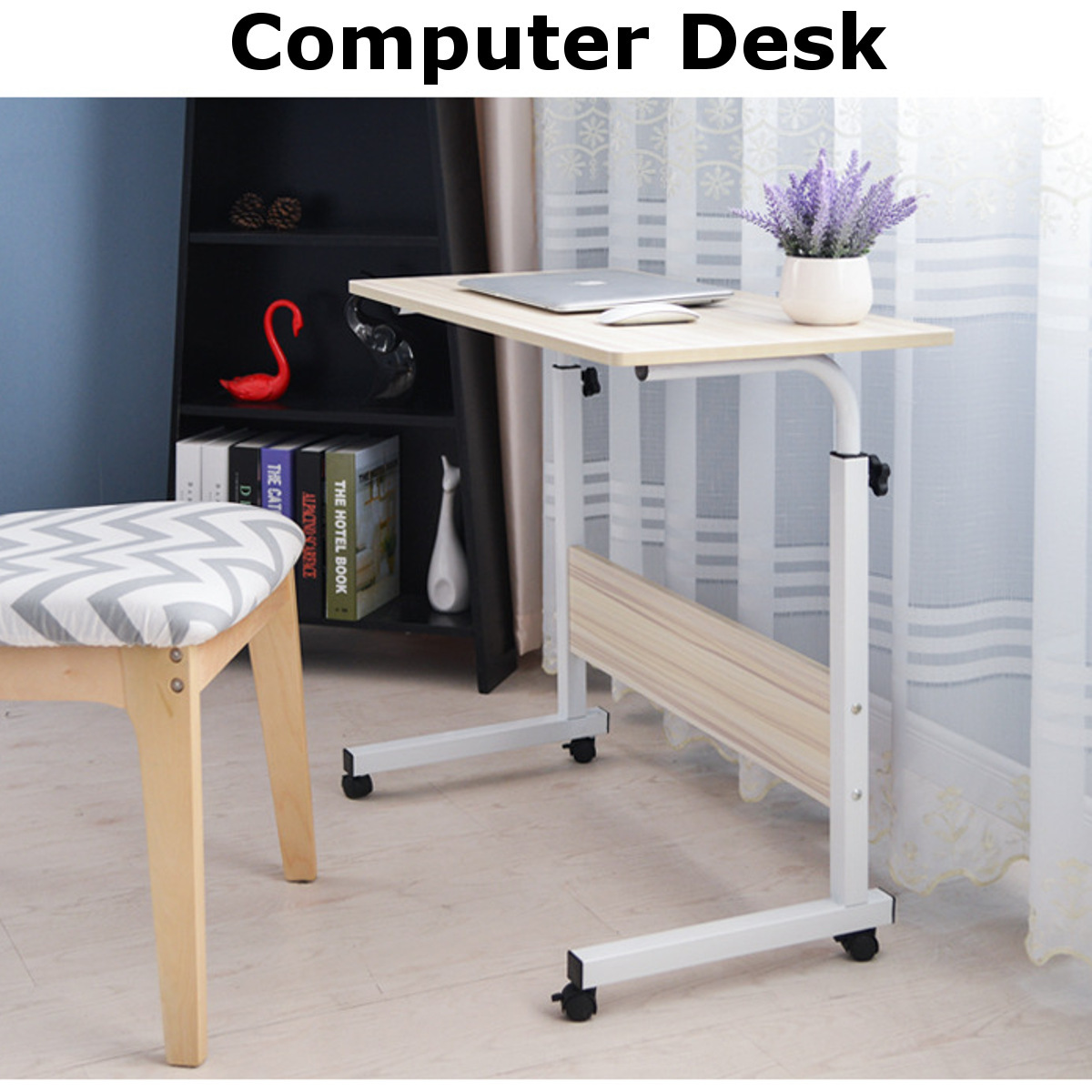 70-90cm Foldable Computer Desks With Roller Laptop PC Table Student Learning Desk Movable Bed Tray Office Home Vented Stand