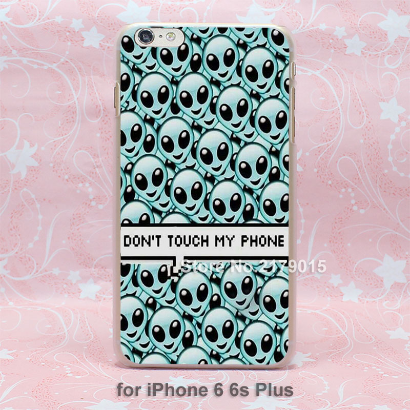 aliens background blue emoji Pattern hard transparent clear Cover Case for iPhone SE 4 4s 5 5s 5c 6 6s Plus