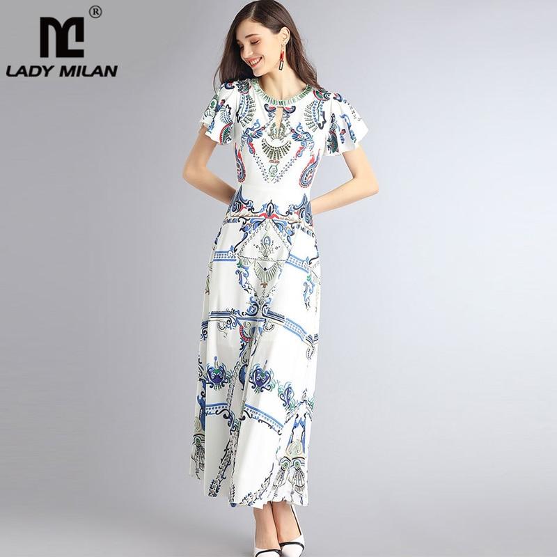 Lady Milan 2018 Womens O Neck Short Flare Sleeves Sexy Keyhole Beaded Fashion Casual Summer Dresses