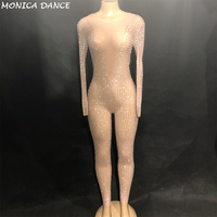 Women's Sparkly Silver Rhinestones Mesh Jumpsuit Singer Dancer Party Luxurious Perspective Stage Wear Birthday Celebrate Outfit