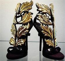 Hot sales gold floral leaves patent leather women sandals peep toe high heels cut-outs sandals gladiator shoes Party Shoes цены онлайн