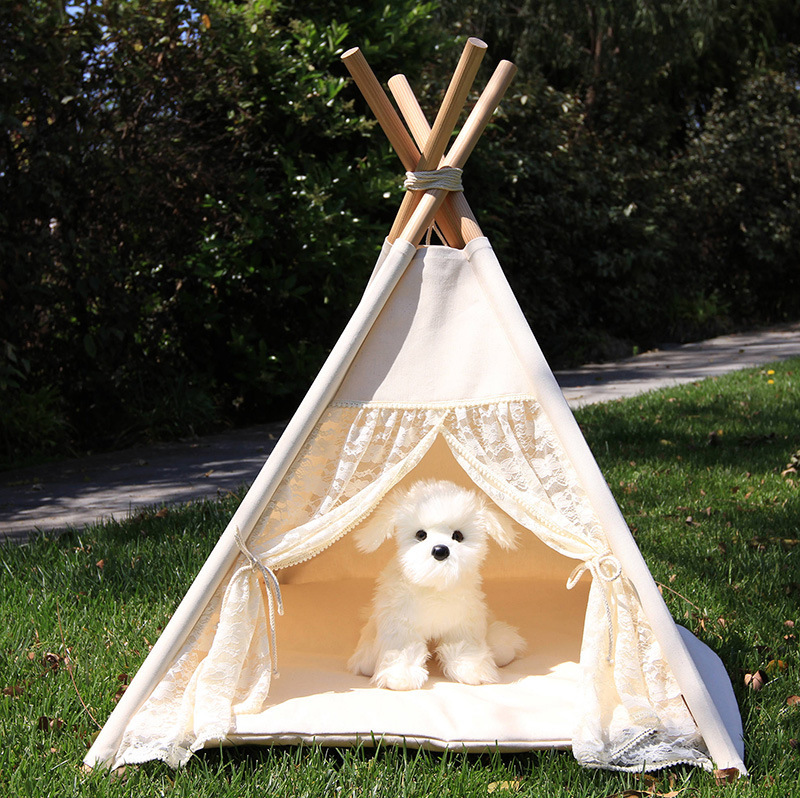 2018 lace pattern dog house nest with mat foldable pet tent folding portable pet teepee cotton canvas tent dogs cats bed room