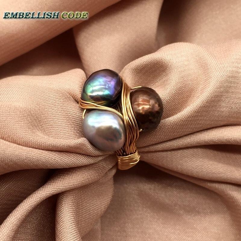 Nouveau Design pièces originales en or avec des perles baroques bague à la main faire des anneaux paon marron gris couleur mélangée