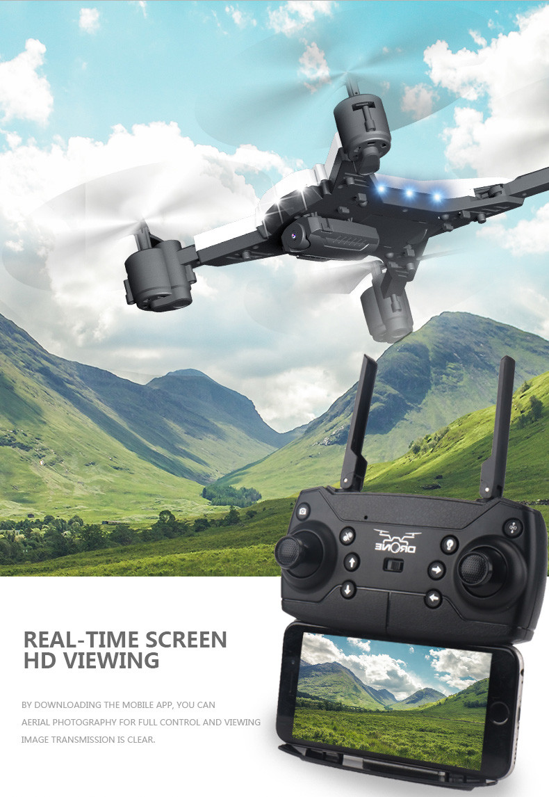 601S 1080P 5MP Quadcopter With Camera Foldable WIFI FPV Drone 20Min Flying 6-axis 4CH RC Helicopter Selfie Drones With Camera HD 10