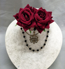 New Handmade Rose Florals Beaded Chain Hiar Clip GothIC Hairpin Headdress Headband KC Lolita Women