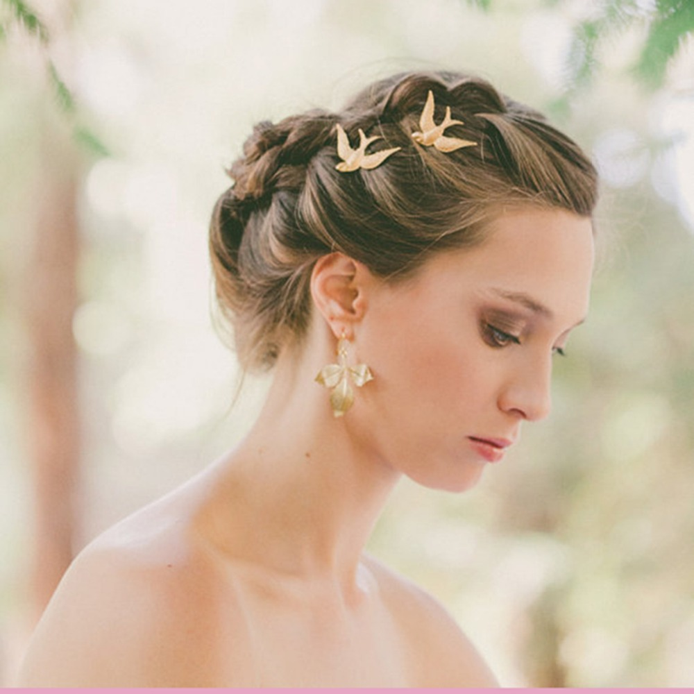 Silver Gold Swallow Bird Style For Bridal 2Pcs/set Barrettes Hairpins Hair Jewelry Accessory Hair Clip Bridesmaid Wedding Party
