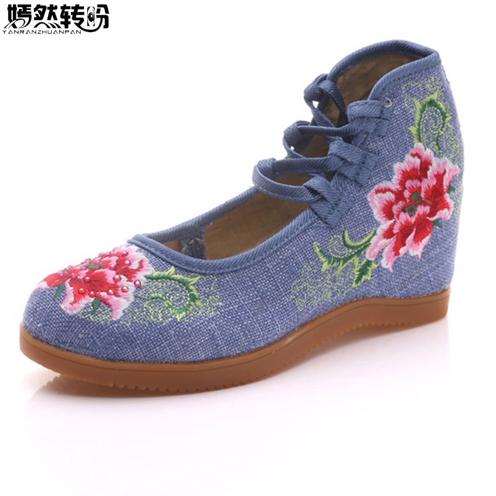 Women Shoes Hidden Wedge Heel Cotton Embroidered Canvas Platforms Shoes Mid Top Ankle Strap Casual Pumps For Elegant Ladies vintage flats shoes women casual cotton peacock embroidered cloth flat ankle buckles ladies canvas platforms zapatos mujer