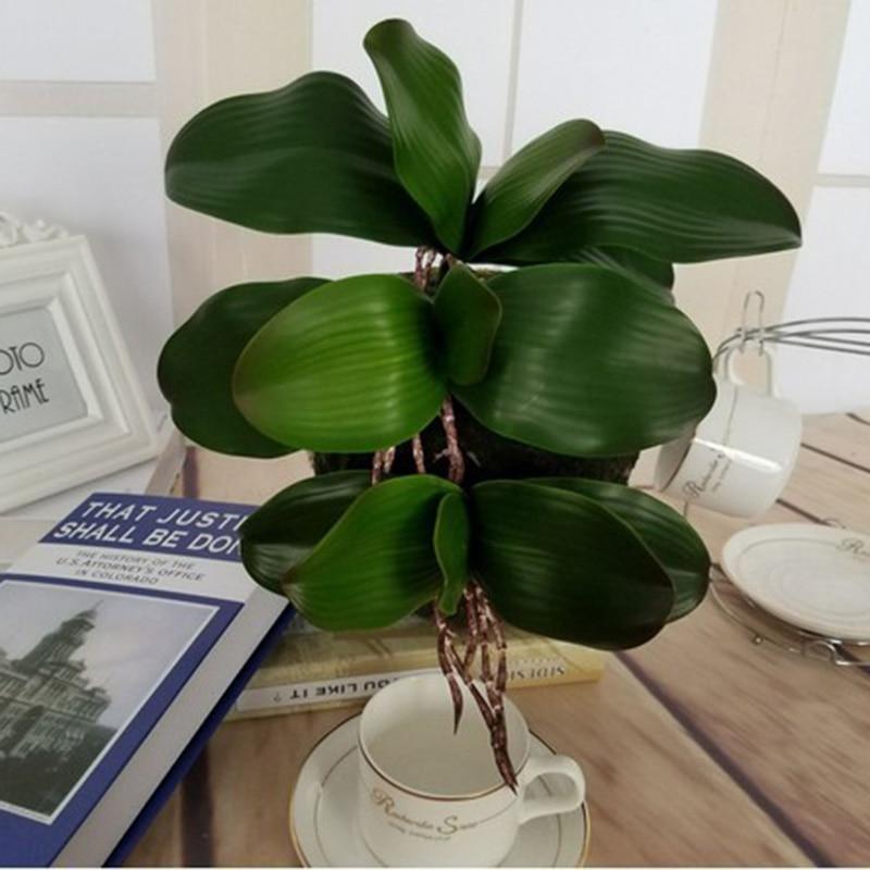 1 шт. Настоящее сенсорный фаленопсис лист искусственный листьев растений декоративные цветы вспомогательный материал украшенные цветами Орхидеи Листья