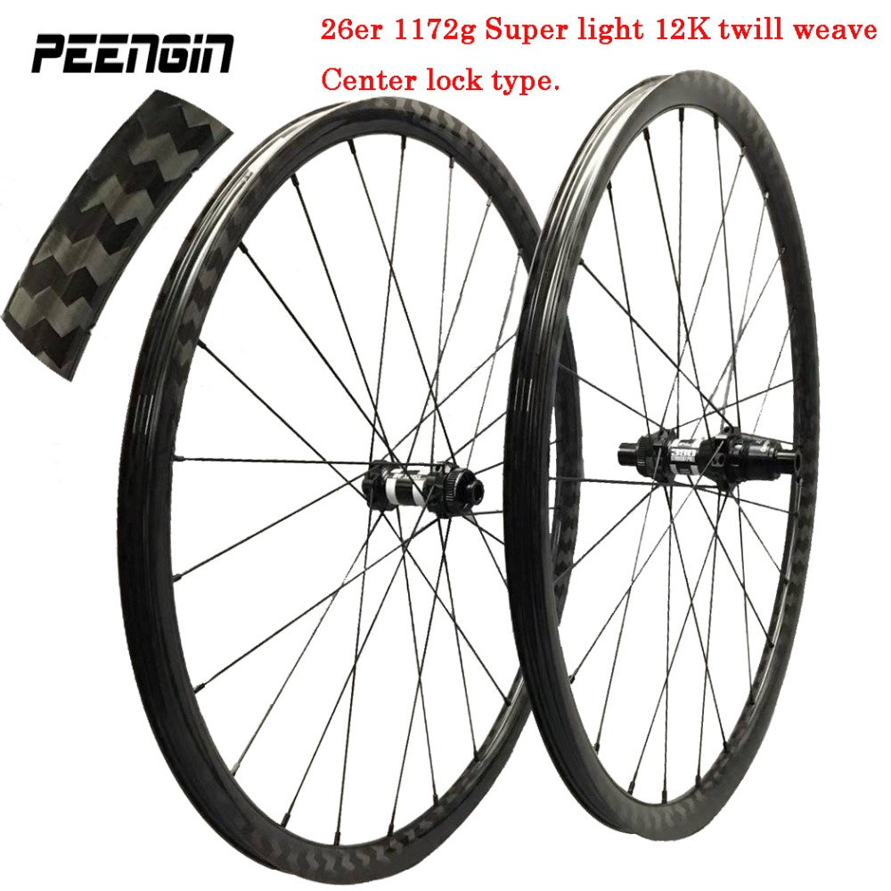 center lock 1172g 26er mtb 12K twill carbon wheels 29er mountain wheelset 27.5inch Novatec/Powerway/DT 350s/240S hubs 1420 spoke 29er carbon 3k 6 spokes wheels mountain bike six spoke wheelset 27 5 inch mtb bicycle parts 26er for sale 650b cycling component