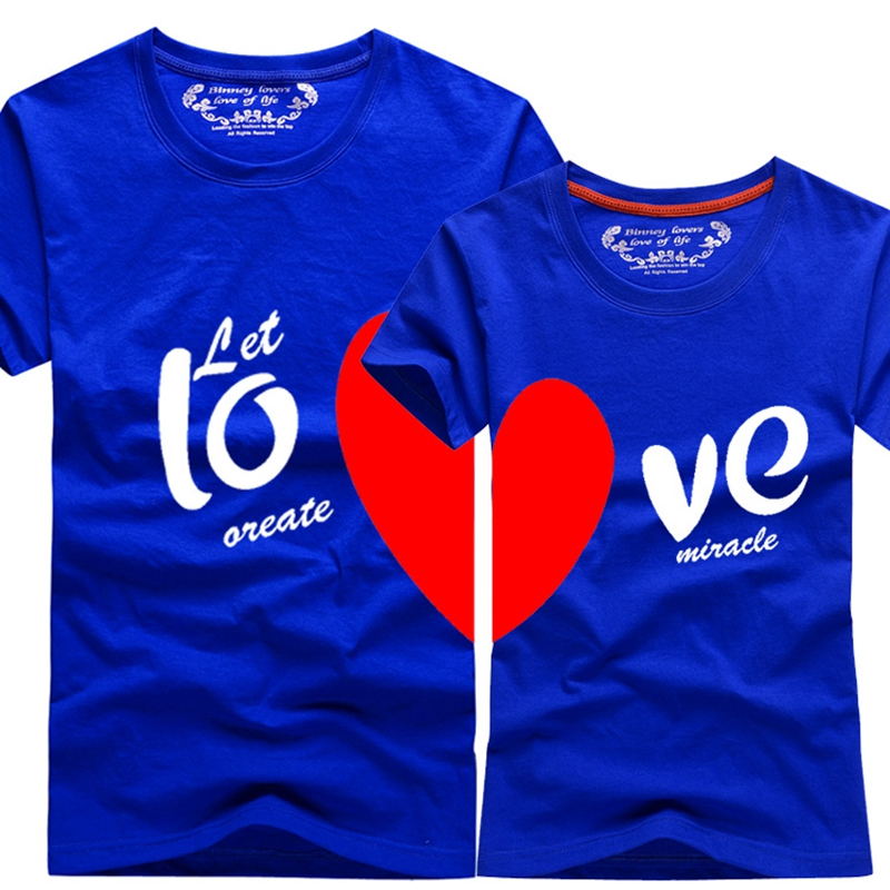 b8c397e318 2016 New Upgrade Couples Men & Women Heart LOVE t shirts Printing100%  Cotton Couple Lovers tshirts couple lovers couple t shirt-in T-Shirts from  Men's ...