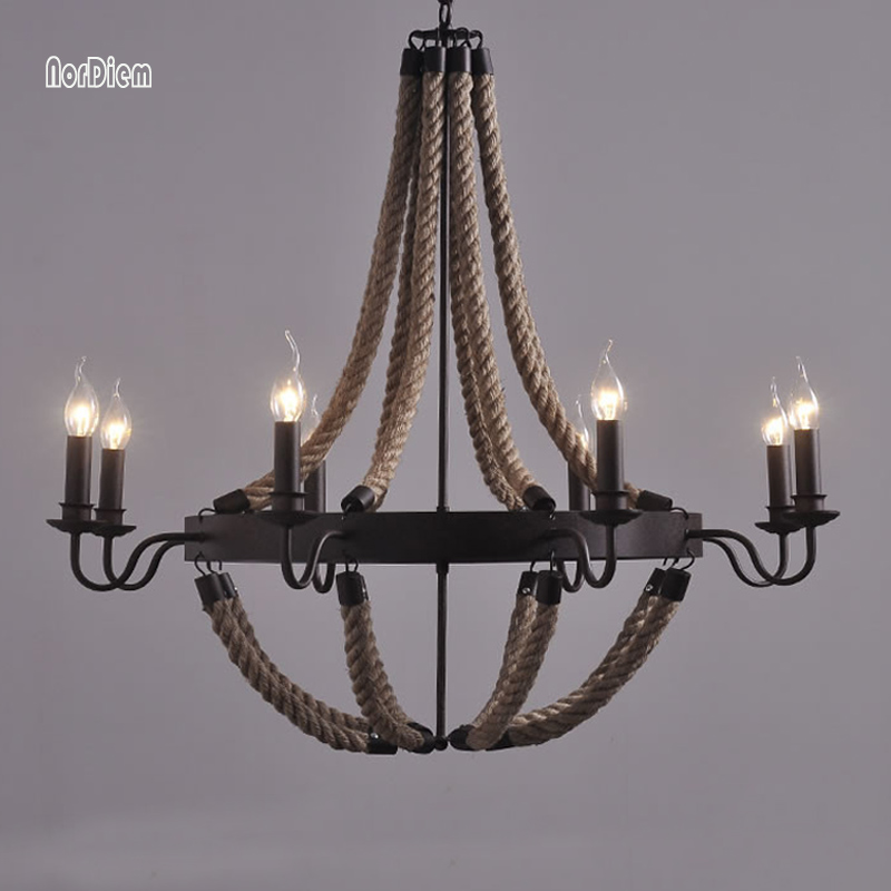 3/6/8 Heads American Wrought Iron Rope Pendant Lamps for Coffee Bar Dining Room Countryside Rope Chandelier Indoor Light Fixture
