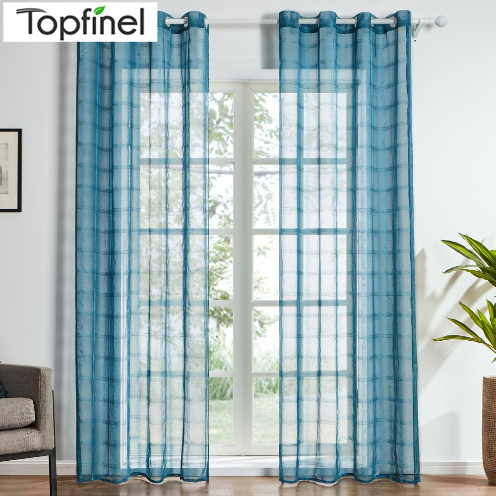 Aliexpress Com Buy 2016 Top Finel Modern Striped Faux: Aliexpress.com : Buy Top Finel Plaid Sheer Curtains For