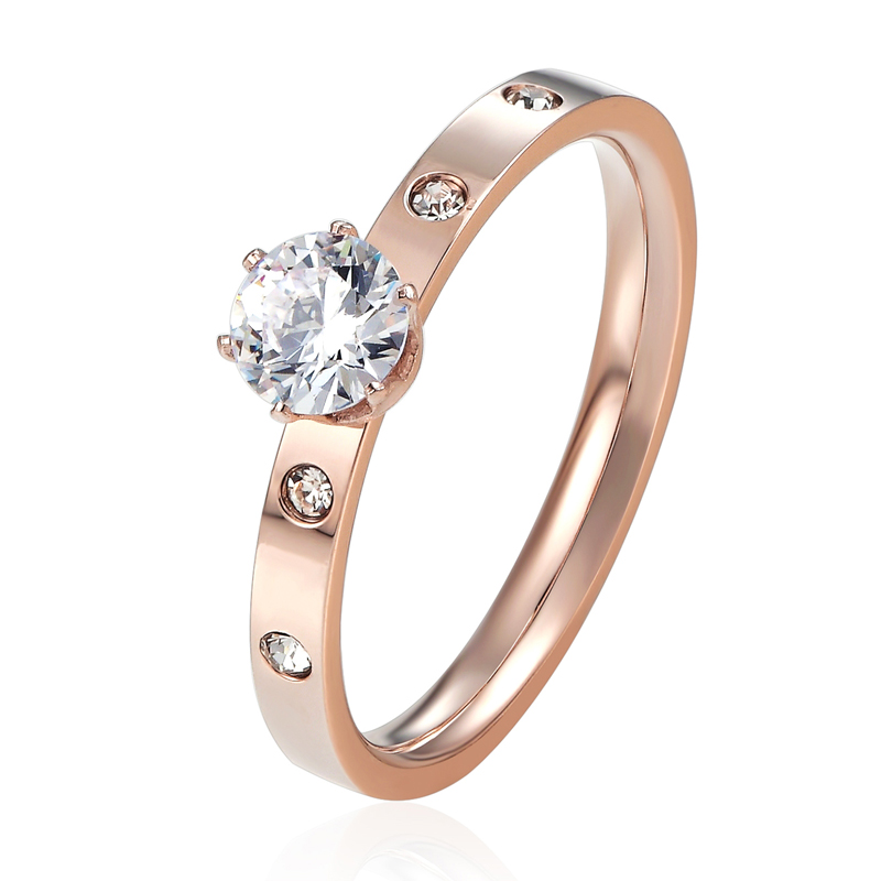 Anti Allergi Titanium Steel 1 Big 4 Small Cubic Zirconia Wedding Ring För Kvinna Rose Gold Color Crystal Bröllop Smycken Bague