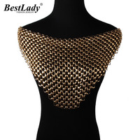 Best lady ekskluzywne na zamówienie metalowe owinięte w klatce piersiowej biustonosz style hollow komunikat obroża naszyjnik choker maxi facebook biżuteria 3371