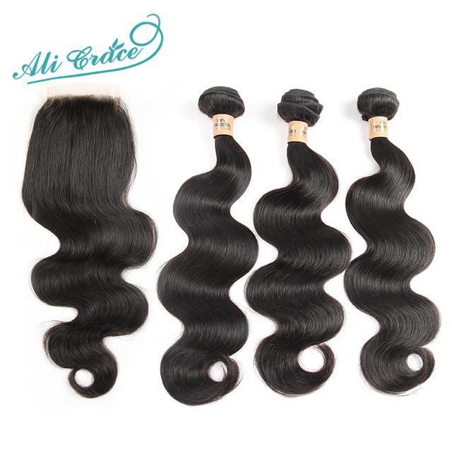 Ali grace 8a não transformados cabelo humano onda do corpo brasileiro com fechamento 3 pacotes com encerramento brasileiro virgem do cabelo com fecho