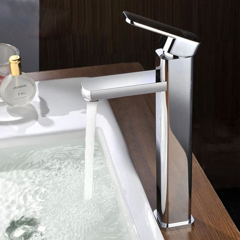 High Basin Faucets Water Faucet Square Shape Single Handle Basin Hot and Cold Mixer Bathroom Sink Faucets Chrome Surface Tap basin faucets waterfall chrome finish bathroom sink faucet square single handle hot and cold mixer tap deck mounted lt 514