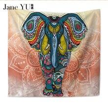 JaneYU 150*130cm / 200*150cm Wall Carpet Elephant Tapestry Colored Printed Decorative Mandala Indian Boho Crafts New