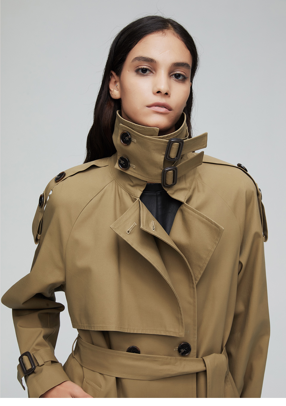 JAZZEVAR 19 New arrival autumn top trench coat women double breasted long outerwear for lady high quality overcoat women 9003 1