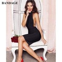 Summer Black Open Back Women Dress Backless Bodycon Rayon Bandage Vestidos Sexy Party Halter Low Back Night Club Wear