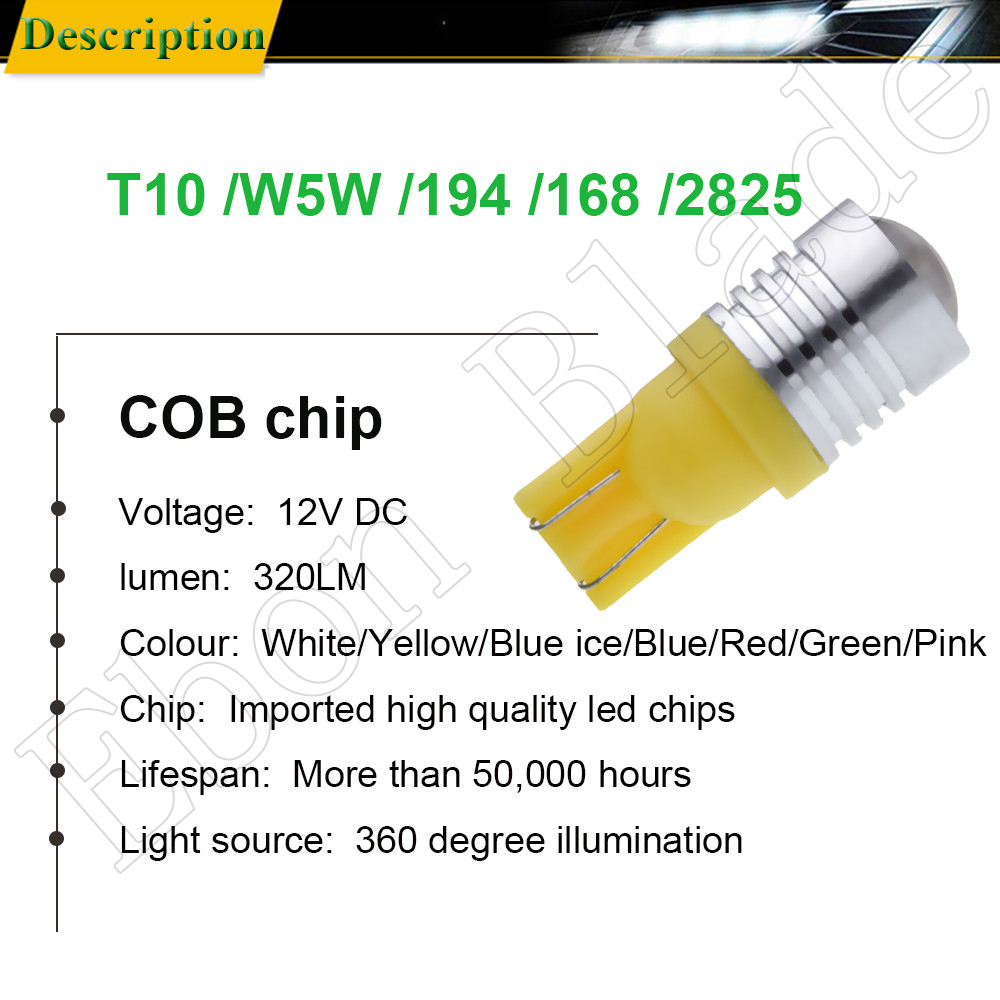 Image 2 - 2X T10 194 168 W5W 5W5 LED Bulb COB 3W Car Interior Light Coche Voiture Auto Accessories White Yellow Amber Red Lamp Styling 12V-in Signal Lamp from Automobiles & Motorcycles