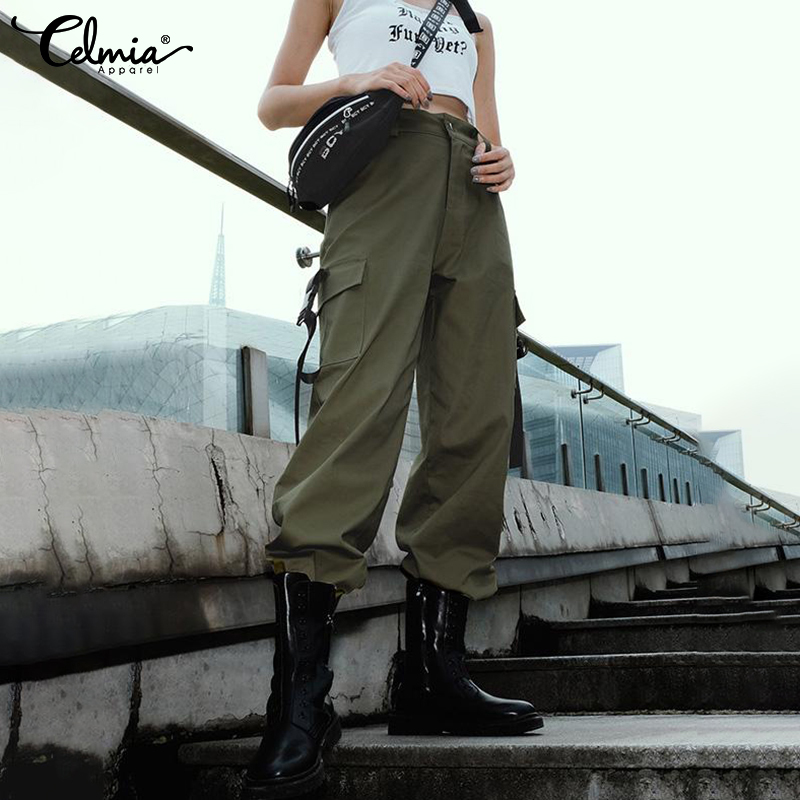 Celmia Fashion Streetwear Cargo   Pants   Women Casual Joggers 2019 Summer High Waist Loose Female Trousers Ladies Long   Pants     Capri