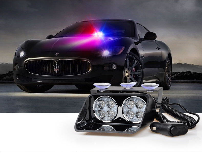 8W Windshield dash Led Strobe Light S8 Viper Car Flash Signal Emergency Fireman Police Beacon Warning Light Red Blue Amber
