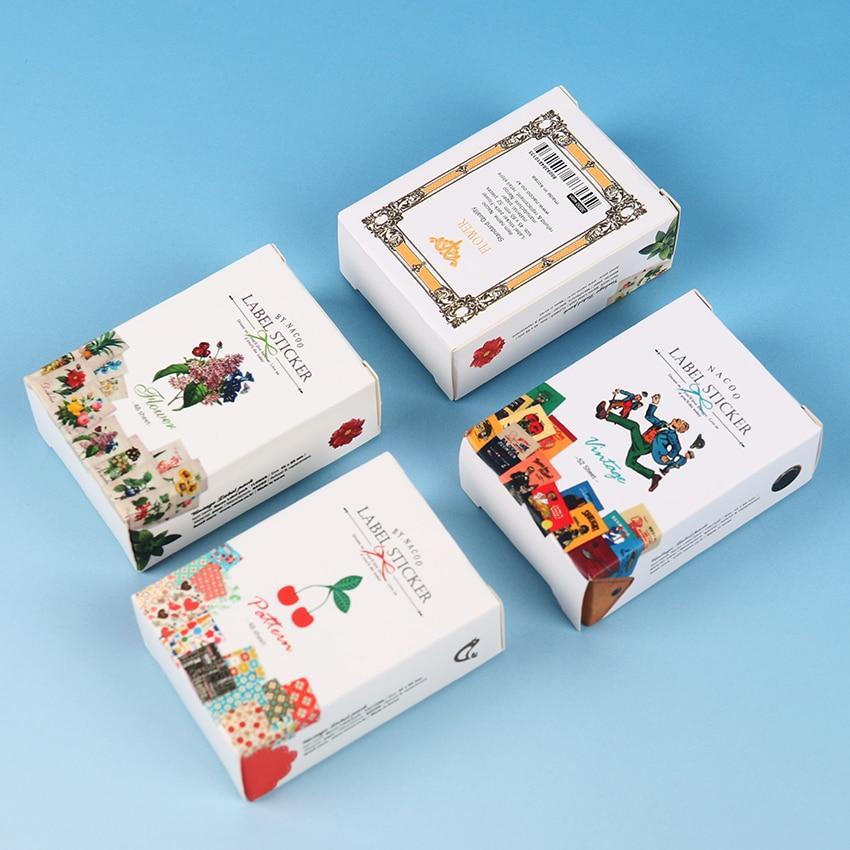48 PCS Creative Stationery Sticky Matchbox Paper Sticker DIY Vintage Album Diary Scrapbooking Decoration