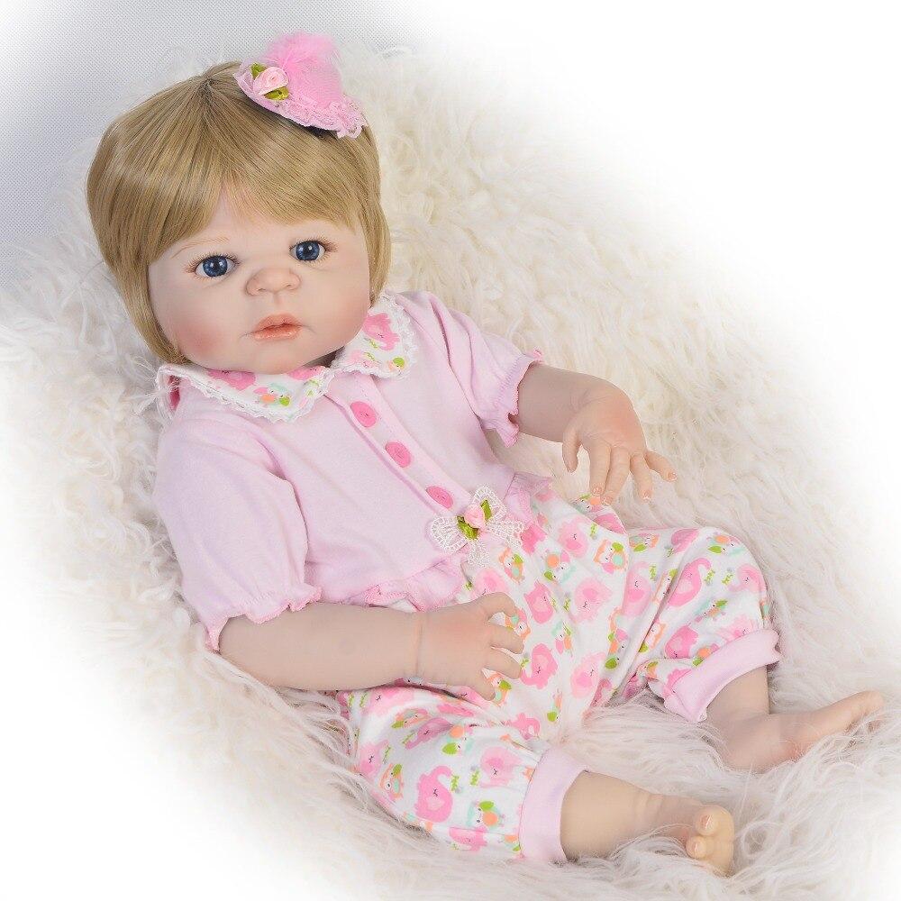 Nueva llegada 57cm muñecas Reborn juguete para niña 23 pulgadas vinilo completo de silicona muñeca recién nacida regalo de moda Reborn realista regalo de Navidad-in Muñecas from Juguetes y pasatiempos    1