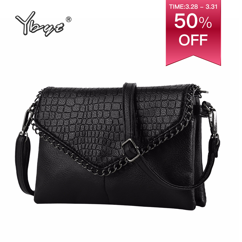 YBYT merk 2018 nieuwe vintage casual kettingen alligator vrouwen clutch hotsale dames party purse schouder messenger crossbody tassen