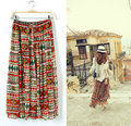 Long Gypsy Skirts With Lining Women 2017 New Fashion Bohemian Chiffon Skirt Elastic Waist One Size Fits All