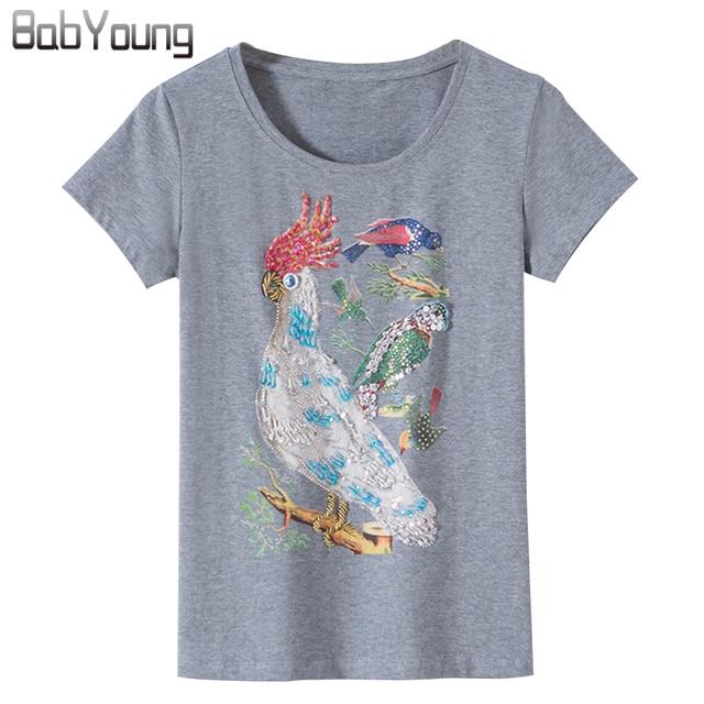3e5381ab BabYoung 2018 Summer New T Shirts Women Cotton Fashion Tops O-neck Short  Sleeve Diamond Parrot Pattern T-shirt Black Red White