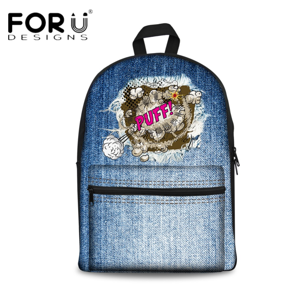 FORUDESIGNS Brand Designer Women Canvas Backpack Blue Denim Shoulder School Bags for Teen Girls Casual Campus Back Pack Mochila