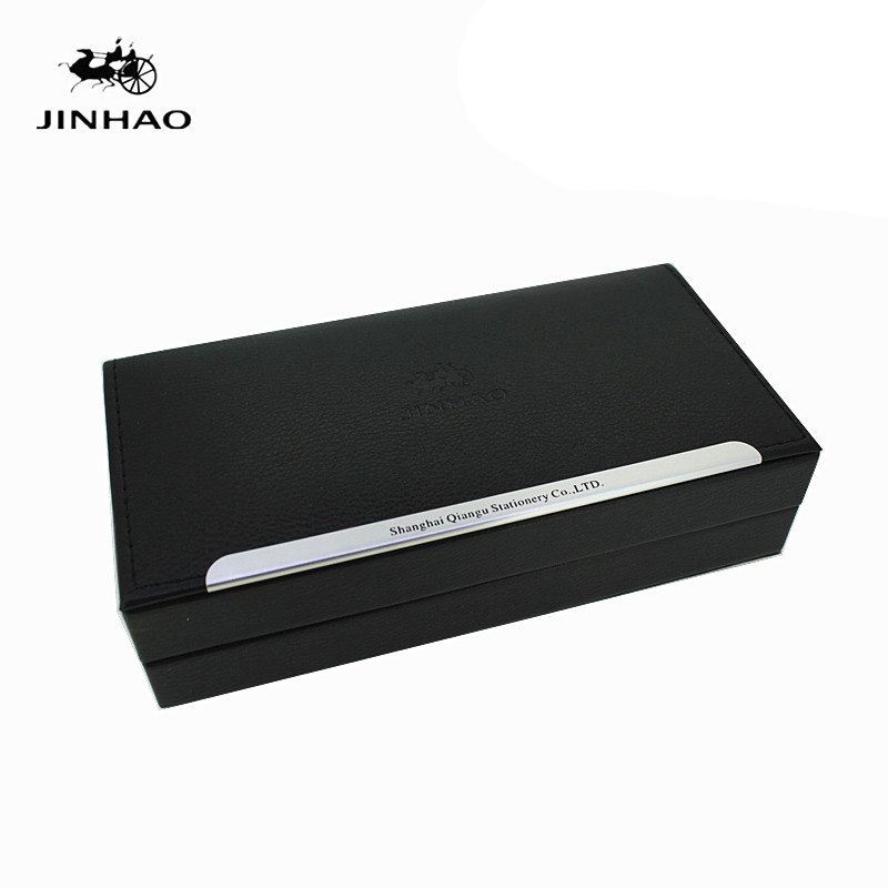 Jinhao Luxury Black Leather and Wood Original Gift Pen Box for Fountain Pens No Include The Pen new jinhao gray fountain pen broad nib two dragon play the pearl without original box