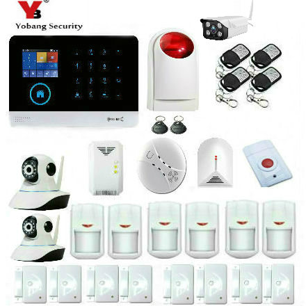 YobangSecurity Wireless Wifi GSM RFID Home Burglar Security Alarm System with Wireless Siren Outdoor IP Camera Smoke Fire Sensor yobangsecurity gsm wifi gprs wireless home business security alarm system with wireless ip camera smoke fire dual motion sensor