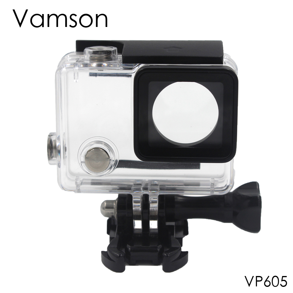 Vamson for Go Pro Accessories Waterproof Case 60m Underwater Diving Shell Cover Housing Skeleton Frame for Gopro Hero 4 3+ VP605 go pro hero 4 3 accessories metal alloy protective case cover housing shell lens cover for gopro hero 43 camera accessories