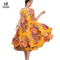 2015 Summer Style Short Sleeve Plus Size Women Vintage Maxi Long Red Cotton Linen Dress 3