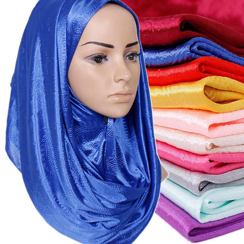 Nuevo chal liso de algodón Floral musulmán bufanda instantánea arrugado Hijab mujer musulman listo para usar turbante fulard islámico bufanda