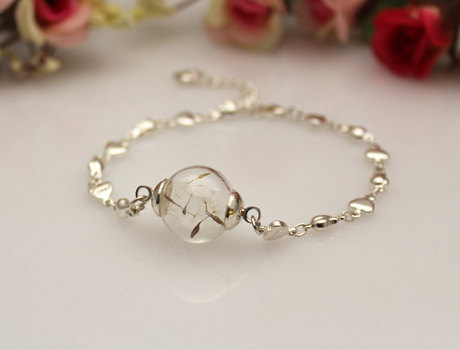 2pcs 16mm Gl Bulb Dandelion Seed Bracelets Ball Globe Good Luck In Chain Link From