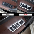 4 PCS Car styling DIY ABS/Stainless Steel Windows lift button Stricker Cover Case For Volkswagen vw New Touran 2016 Accessories